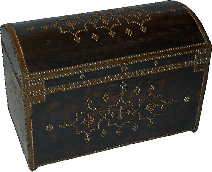 Antique Trunk Leather Brass Tack Decoration