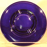 Vintage Ashtray Cobalt Blue Glass  Rich Blue