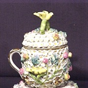 Porcelain  German Covered Cup on Stand