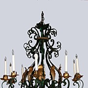 Vintage Chandelier Large Cast Iron with Green Patina