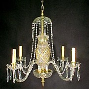Crystal Chandelier:gold enamel vase center