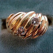 Gold & Diamond Ring Art Nouveau Rich Swirl Design