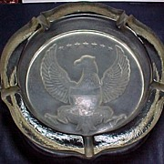Vintage Crystal Ashtray with eagle Large
