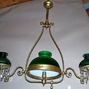 Victorian Chandelier Student Lamp Style with Green Mellon Rib Shades