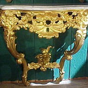Rococo Carved Gold Gilt Console Marble top Table