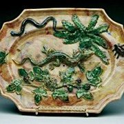Antique Majolica Plate with 8 inch Salamander ,Frog ,Beetle & Snake Signed Minton