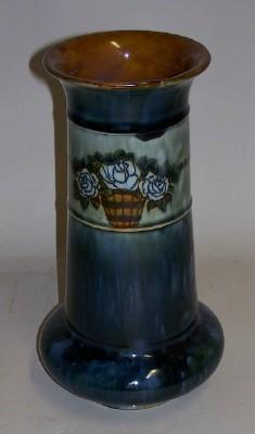 Royal Doulton Pottery Vase Roses Artist Signed