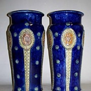 Royal Doulton Pottery Vase Pair Lambeth