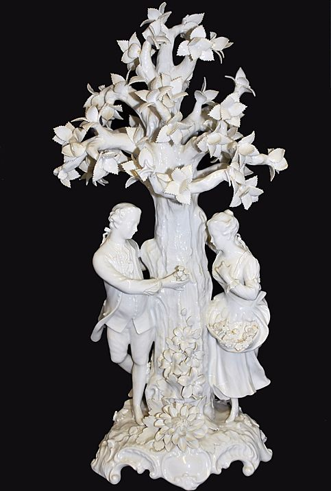 Porcelain Blanc Di Cheine Sculpture Large Figural Tree & Lovers