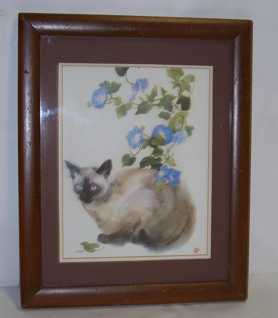 Old Cat Print: Siamese in Frame