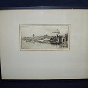 Landscape Etching Signed Botts in Frame