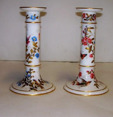 Antique Porcelain Candelsticks: Royal Crown Derby FREE SHIPPING