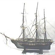 Antique Ship Schooner Model Large Handmade 19th Century