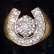Mans 14k gold Ring With Platinum Horse Shoe And Diamonds