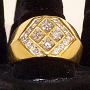 Mans Ring  16k Gold And Diamonds
