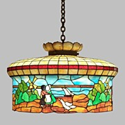Stained Glass Chandelier Dutch Design Good Very Early 1900's