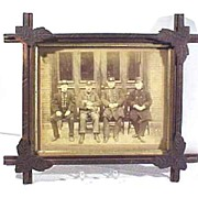 Firemen Photograph in Oak Frame