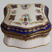 Paris Porcelain Box Blue and Gold Enamel