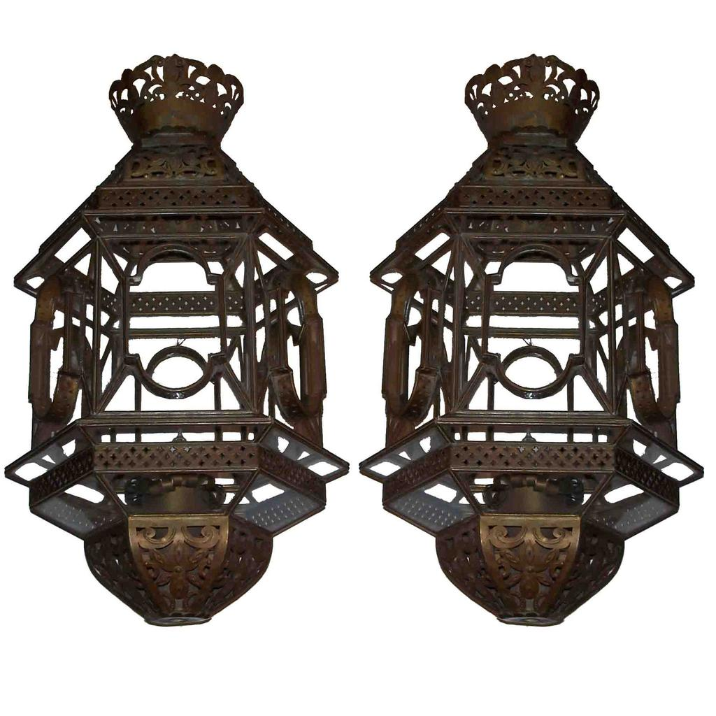 Cut Work Brass And Glass Lanterns Pair