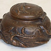 Bronze Inkwell Nautical Design Rich Patina ,Sculpture for the Desk Top