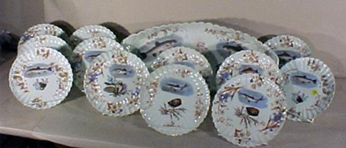 Fish Serving Set Fine China 13 Pc Plates Platter Late Victorian