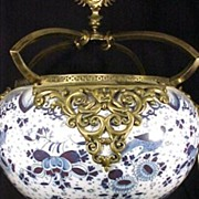 Export Bronze Mounted Porcelain Compote Very  Large  1800s Blue & White