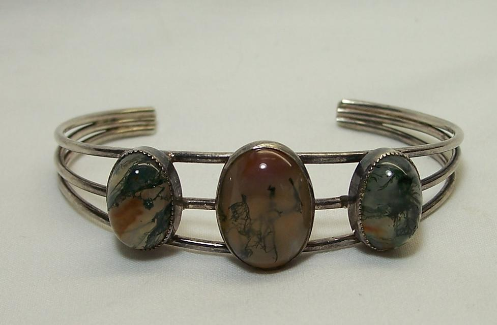 Mexican Silver Bracelet With Agates