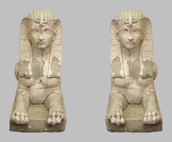 Garden Sculptures Egyptian Sphinx Stone Pair