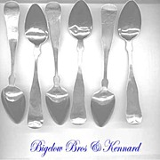 Boston Mass Set of Six Sterling or Coin Silver Teaspoons