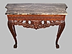 Carved Walnut Console Table With Marble Top