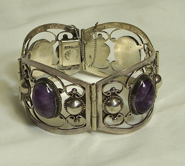 Wide Amethyst & Sterling Bracelet Old Taxco