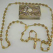 Silver Gilt Rosary With Box