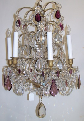 Antique Chandelier European Crystal & Amethyst Prisms