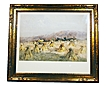 Signed Watercolor by Charles Copeland  Haystacks 1896