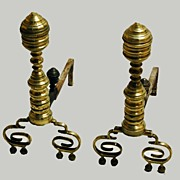 Fireplace Andirons Early 1800s Brass Beehive Design