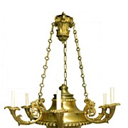 Empire Classical Argand Chandelier Gilt Bronze Mid 1800s Museum Quality