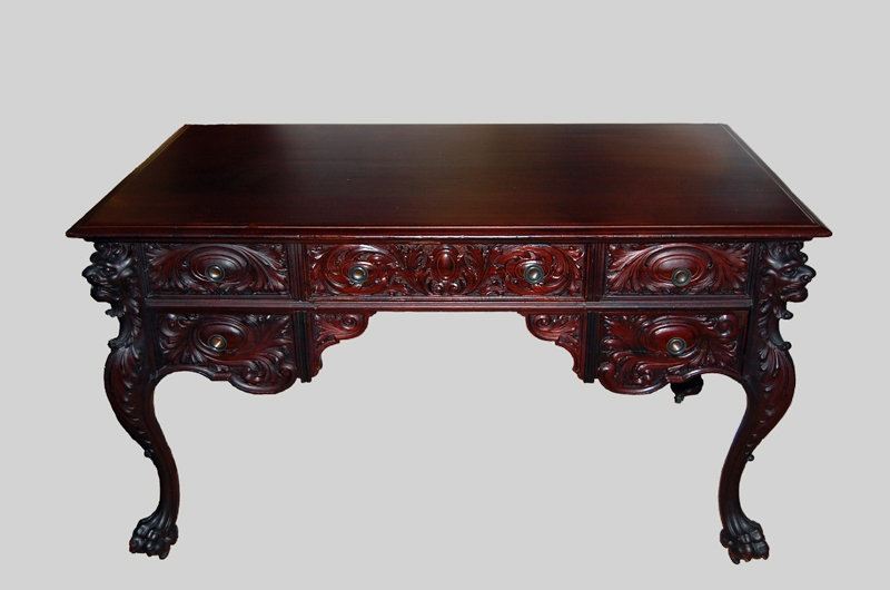 Partners Desk Carved Mahogany : att To Horner
