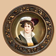 Mid 1800s Portrait On Porcelain Bronze Mounted