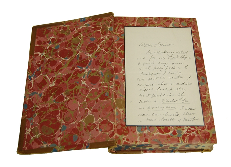 Whittier Poetical 1891 with Autograph Letter