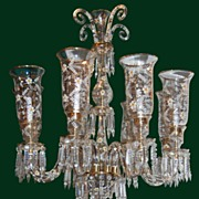 Enameled Crystal Chandelier Amazing Monumental Art Glass