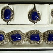 Antique Jewelry Lapis Sterling Filagree Suite