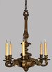 Bronze Rococo Six Branch Chandelier