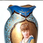 Porcelain Vase,Portrait of Beautiful European Woman