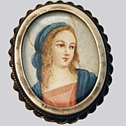 Miniature Oil Painting Silver Frame Brooch