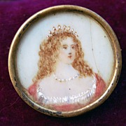Antique Oil Painted Portrait Brooche