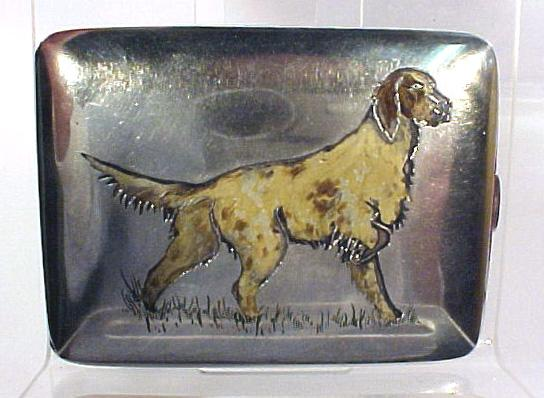 Sterling Silver Enamled Card Case Dog