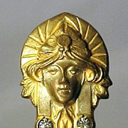 SALE PENDING Stick Pin Face and Stones Art Nouveau