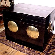 Silver Storage Chest Nautical or China Trade  Style  Large Ebony & Brass