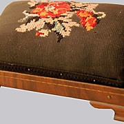 Miniature Footstool Salesman Sample Needlepoint Top