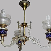 Chandelier Blue Cut Glass Fonts Oil Kerosene
